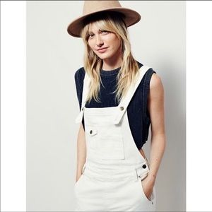 Free People | Washed Denim Overalls Cropped White